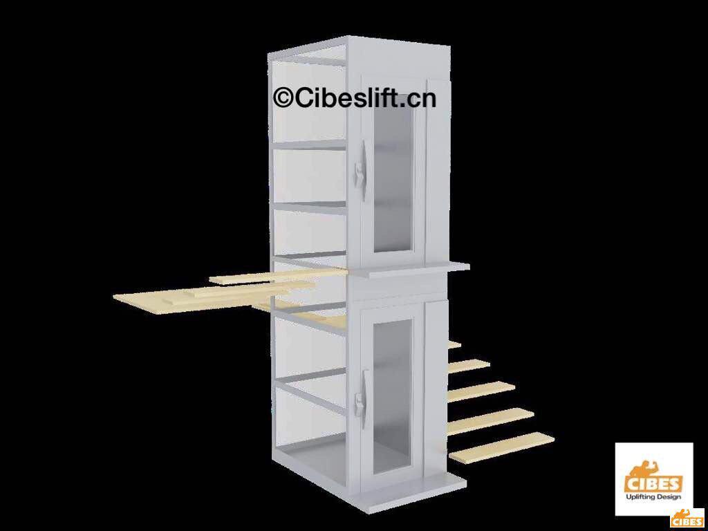 Hình 3D của thang máy lắp đặt vào trong cầu thang bộ