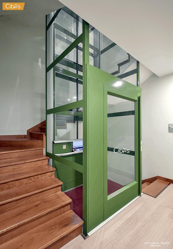 Kết cấu thang máy gia đình nhập khẩu CIBES rất đơn giản.