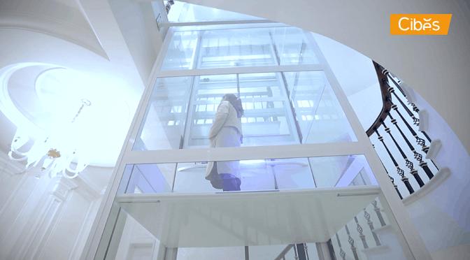 Thang Cibes A5000 màu trắng sang trọng lắp cho biệt thự