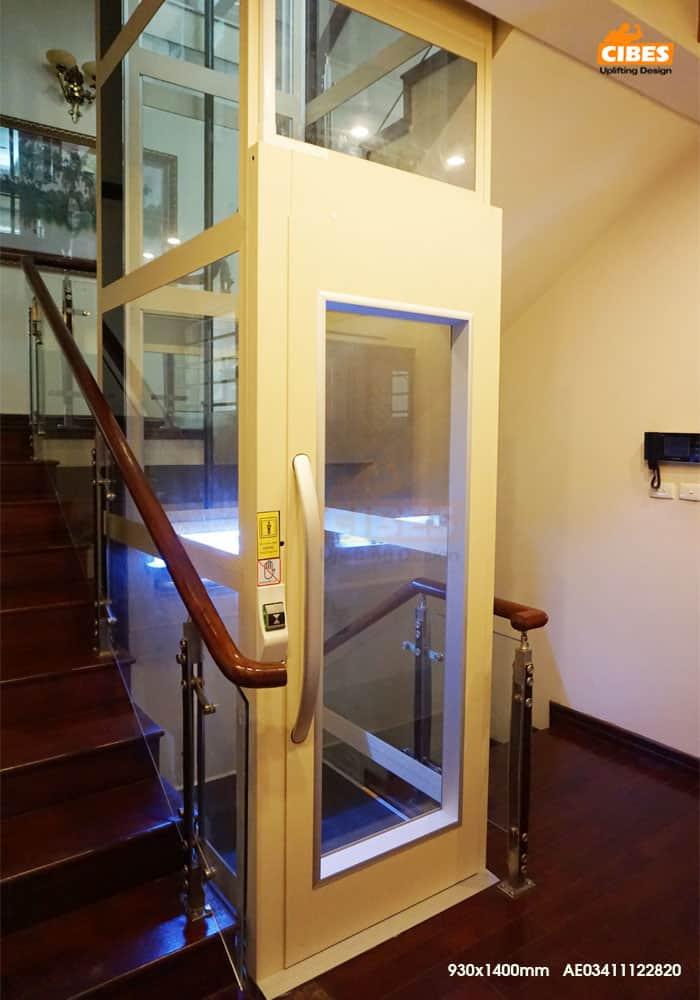Thiết kế thang máy gia đình gọn nhẹ đơn giản