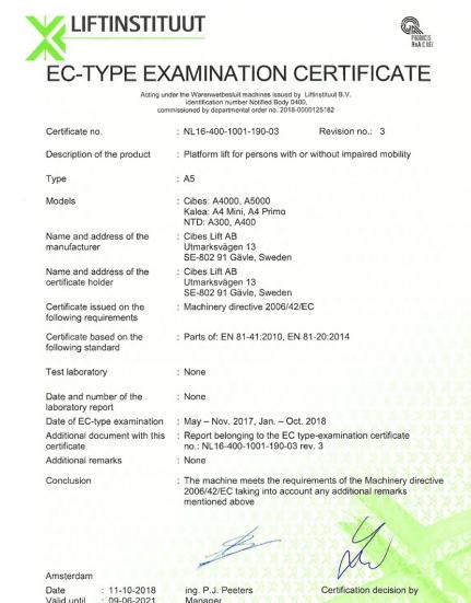 Thang máy gia đình Cibes đáp ứng tiêu chuẩn EC của Châu u về sự an toàn